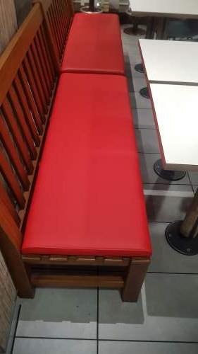 After photo of a red leather bench
