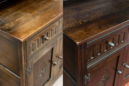 French polishing of cabinet before and after