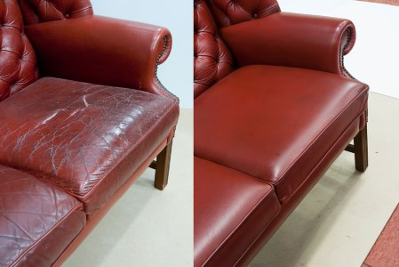 Re-covering of a leather suite